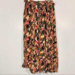 Vintage | Vibrant Colorful Floral Boho Maxi Skirt